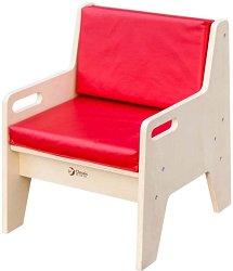 Детско дървено столче с облегалка -