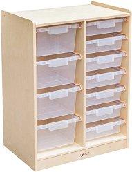Дървен скрин с кутии за съхранение -