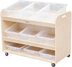 Дървен подвижен скрин с кутии за съхранение -