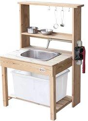Дървена мивка с течаща вода -