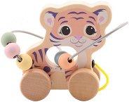 Лабиринт на колела - Тигърче - Детска дървена играчка за дърпане -