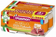 Plasmon - Пюре от агнешко месо - Опаковка от 4 x 80 g за бебета над 4 месеца -