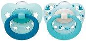 Залъгалки от силикон с ортодонтична форма - Signature - Комплект от 2 броя с кутия за съхранение за бебета от 0+ до 6 месеца -