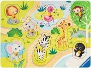 Моят първи пъзел - Зоопарк - Детски дървен пъзел с пинчета - пъзел