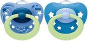Флуоресцентни залъгалки от силикон с ортодонтична форма - Signature Night - Комплект от 2 броя с кутия за съхранение за бебета от 0+ до 6 месеца -