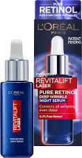 """L'Oreal Revitalift Laser Pure Retinol Deep Wrinkle Night Serum - Нощен серум против стареене с ретинол от серията """"Revitalift Laser"""" - червило"""