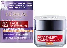 """L'Oreal Revitalift Filler HA Anti-Age Day Cream - SPF 50 - Дневен крем против стареене с хиалуронова киселина от серията """"Revitalift Filler HA"""" - крем"""