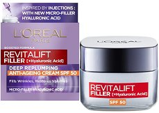 """L'Oreal Revitalift Filler HA Anti-Age Day Cream - SPF 50 - Дневен крем против стареене с хиалуронова киселина от серията """"Revitalift Filler HA"""" - фон дьо тен"""