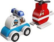 LEGO: Duplo - Пожарникарски хеликоптер и полицейска кола - играчка