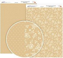 Двустранен картон за скрапбукинг - Рози и точки - Формат A4
