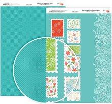Двустранен картон за скрапбукинг - Пощенски марки с цветя - Формат A4