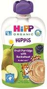 HiPP HiPPiS - Био забавна плодова каша с елда - Опаковка от 100 g за бебета над 6 месеца -