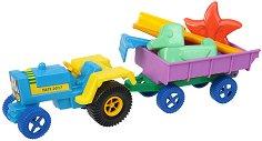 Комплект за игра с пясък - Трактор с ремарке -