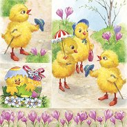 Салфетки за декупаж - Великденски пиленца - Пакет от 20 броя