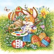 Салфетки за декупаж - Великденски заек - Пакет от 20 броя