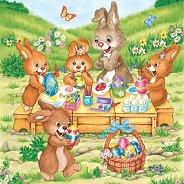 Салфетки за декупаж - Зайчета декорират яйца - Пакет от 20 броя