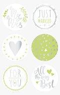 Кръгли самозалепващи стикери - Just Married