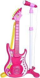 Електронна китара с микрофон - Тролчета - Детски музикален инструмент със светлинни ефекти -