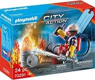 Подаръчен комплект - Пожарникар - играчка