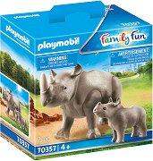 Носорог с бебе -