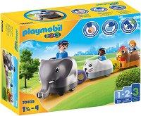 """Влакче с животни - Комплект играчки от серията """"Playmobil: 1.2.3"""" -"""