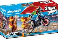Мотоциклет с огнена стена -