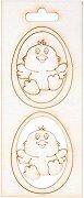 Фигурка от бирен картон - Пиле - Комплект от 2 броя предмети за декорация с размери 3.7 / 5 / 0.1 cm