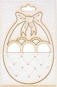 Фигурка от бирен картон - Кошница с яйца - Предмет за декориране с размери 7.2 / 10 / 0.1 cm