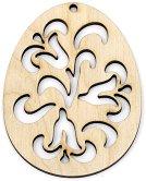 Фигурка от дърво - Великденско яйце с орнаменти - Предмет за декориране с размери 6 / 8 / 0.3 cm