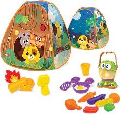 Палатка с музикален фенер - В комплект с аксесоари - играчка
