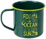 Метална чаша - Forest, trees, ocean, rivers, sun -