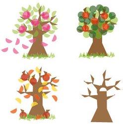 Стикери за прозорци - Дървото на сезоните -