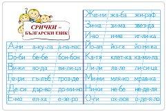 Мини табло: Срички - Български език -