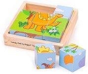 Дървени кубчета - Динозаври - играчка