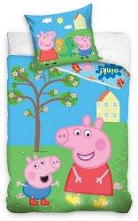 Детски двулицев спален комплект от 2 части - Прасето Пепа -
