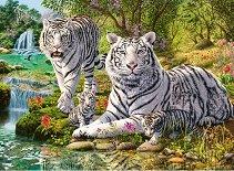 Семейство бели тигри - пъзел