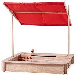 Дървен пясъчник с покрив и кухня -
