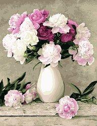 Рисуване по номера с акрилни бои - Цветя във ваза
