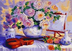 Рисуване по номера с акрилни бои - Романтични ноти