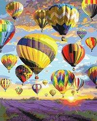 Рисуване по номера с акрилни бои - Полет с балон