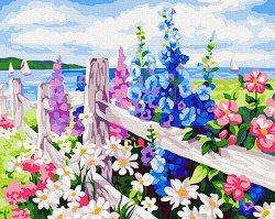 Рисуване по номера с акрилни бои - Цветна ограда