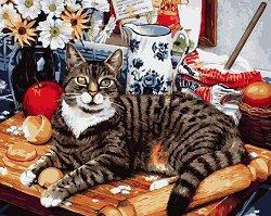 Рисуване по номера с акрилни бои - Котка