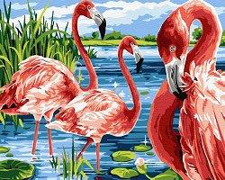 Рисуване по номера с акрилни бои - Фламинго