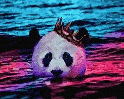 Рисуване по номера с акрилни бои - Панда