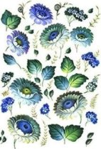 Декупажна хартия - Сини цветя