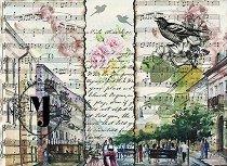 Декупажна хартия - Партитури и цветя