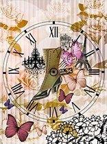 Декупажна хартия - Часовник и цветя