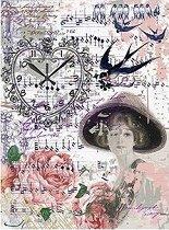 Декупажна хартия - Момиче и цветя