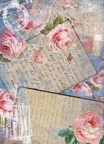 Декупажна хартия - Писма и рози