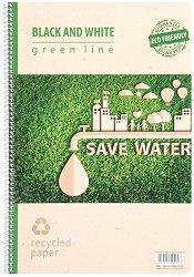 Ученическа тетрадка със спирала - Green Line Формат А4 с широки редове -